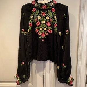 GORG! Free People black needlepoint floral blouse